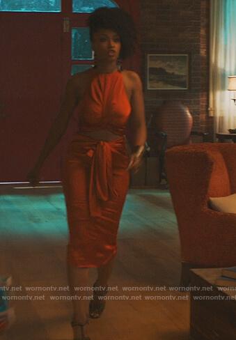 Angela's orange twisted cutout dress on Our Kind of People