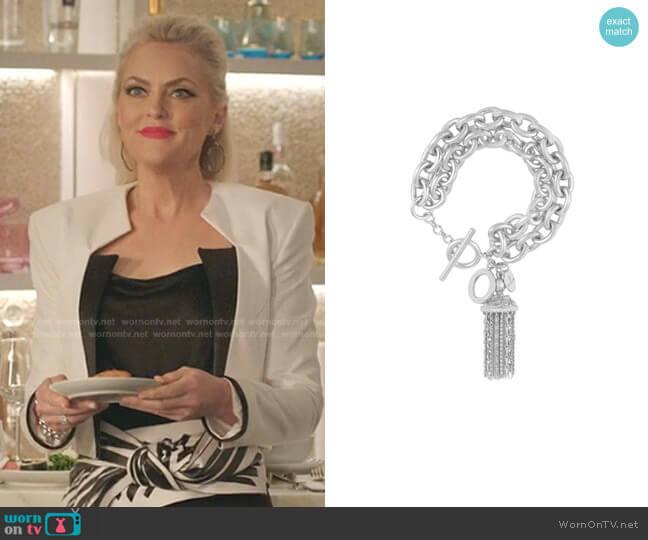 Battina Chain Bracelet by Angelina Alvarez worn by Alexis Carrington (Elaine Hendrix) on Dynasty