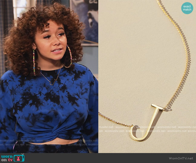 Block Letter Monogram Necklace by Anthropologie worn by Jade (Talia Jackson) on Family Reunion