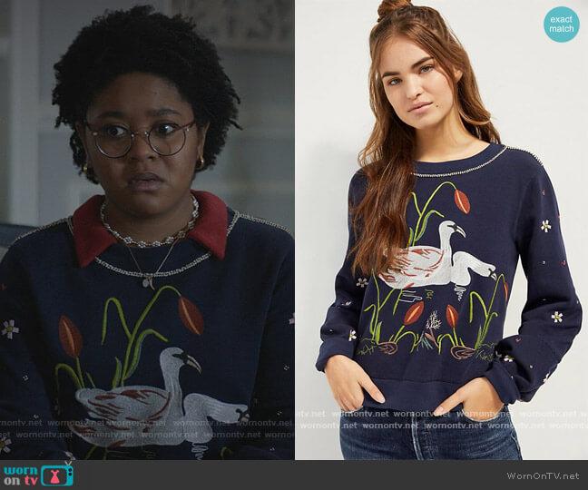 Maeve Swan Lake Embroidered Sweatshirt by Anthropologie worn by Beth Chapel (Anjelika Washington) on Stargirl