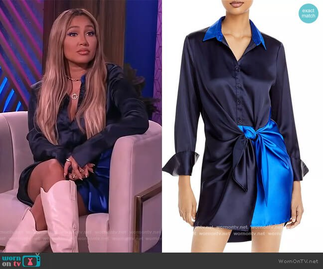 Color Block Tie Wrap Mini Dress by Aqua worn by Adrienne Houghton  on The Real