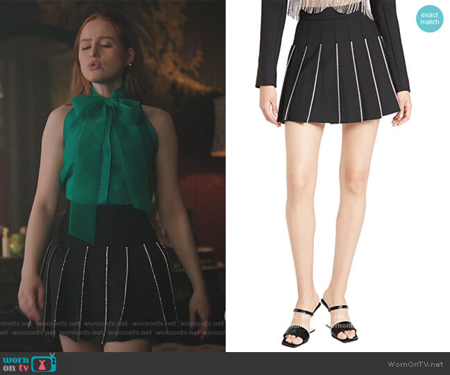 Crystal Trimmed Pleated Miniskirt by Area worn by Cheryl Blossom (Madelaine Petsch) on Riverdale