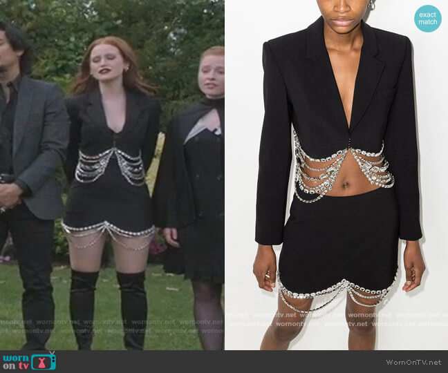 Crystal Baguette Cropped Blazer and Skirt by Area worn by Cheryl Blossom (Madelaine Petsch) on Riverdale
