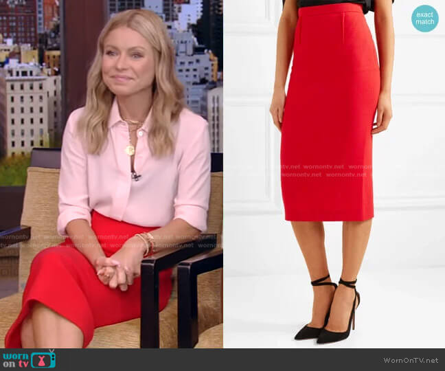 Arreton Skirt by Roland Mouret worn by Kelly Ripa  on Live with Kelly & Ryan