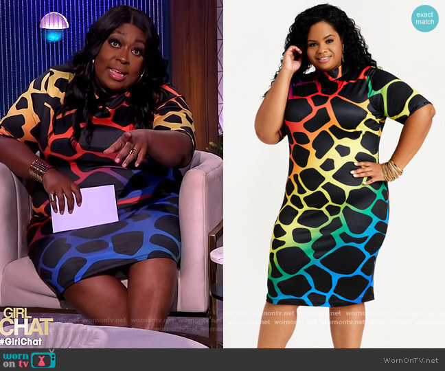 Abstract Mock Neck Bodycon Dress by Ashley Stewart worn by Loni Love  on The Real