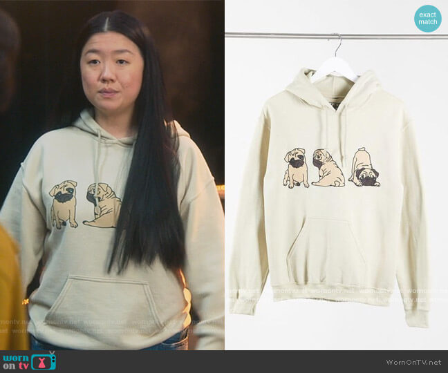 Oversized Hoodie with pug print in sand by New Love Club at ASOS worn by Alice Kwan (Sherry Cola) on Good Trouble