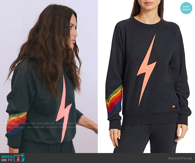 Bolt Stitch Chevron Sweatshirt by Aviator Nation worn by Lisa Barlow  on The Real Housewives of Salt Lake City
