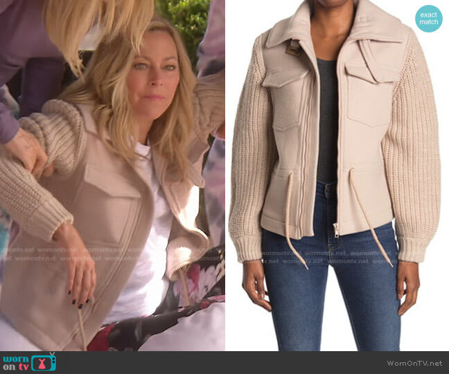 Camille Mixed Media Jacket by Ba&Sh worn by Sutton Stracke  on The Real Housewives of Beverly Hills