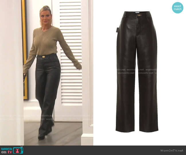 High-Rise Leather Pants by Bottega Veneta worn by Dorit Kemsley  on The Real Housewives of Beverly Hills