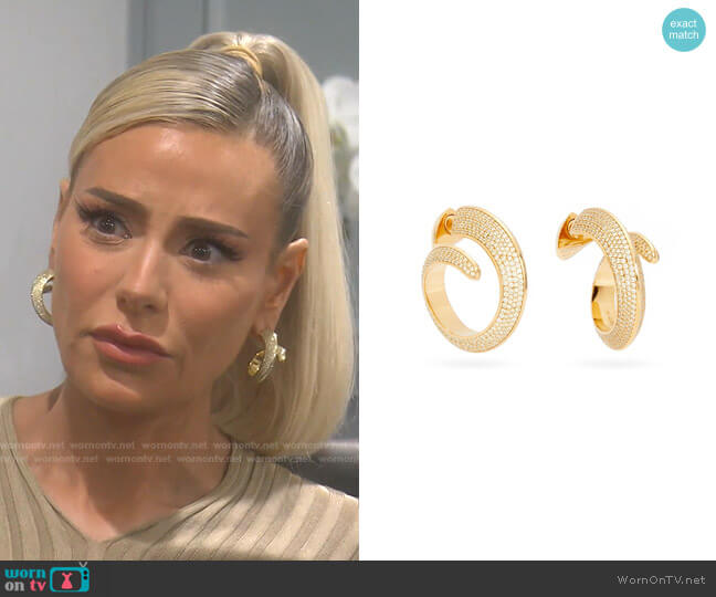 Pavé-Crystal Gold-Plated Hoop Earrings by Bottega Veneta worn by Dorit Kemsley  on The Real Housewives of Beverly Hills