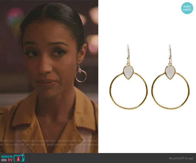 Baja Rainbow Moonstone Earrings by Brooklyn Designs worn by Erin Westbrook on Riverdale
