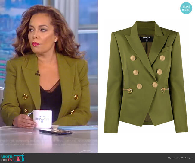 Button-front peak-lapel Blazer by Balmain worn by Sunny Hostin  on The View