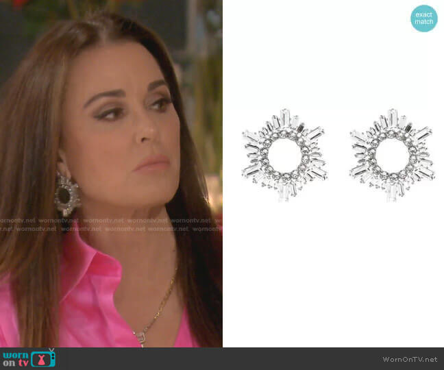 Begum Crystal Earrings by Amina Muaddi worn by Kyle Richards  on The Real Housewives of Beverly Hills