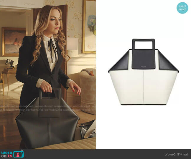 Big Tote Tote Bag In Black by Giaquinto worn by Fallon Carrington (Elizabeth Gillies) on Dynasty