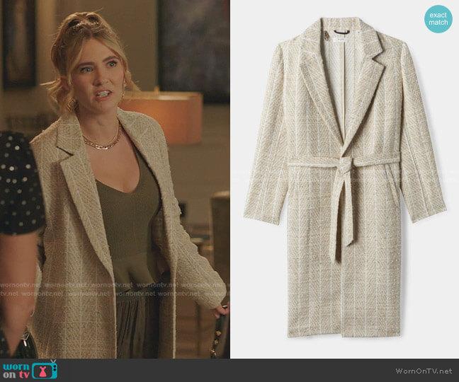 Wrap Coat by Billy Reid worn by Amanda Carrington (Eliza Bennett) on Dynasty