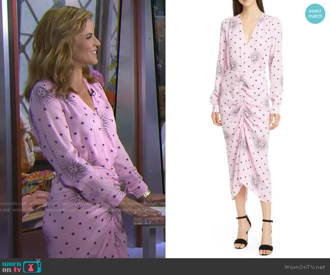 Aria Ruched Sun Print Long Sleeve Midi Dress by Birgitte Herskind worn by Natalie Morales  on Today