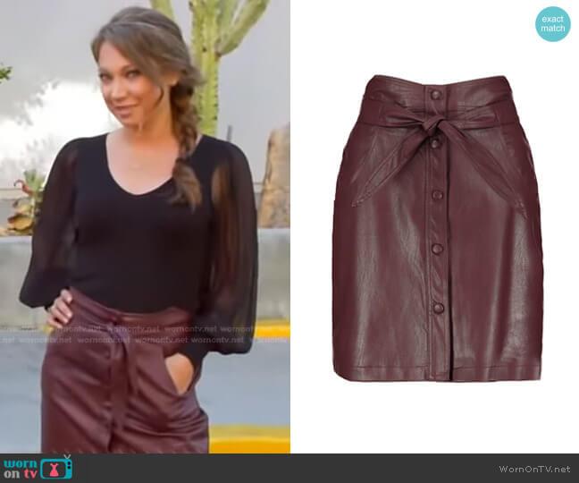 Vegan Leather Button Front Skirt by Bishop + Young worn by Ginger Zee  on Good Morning America