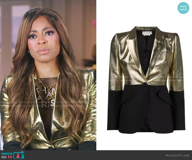 Block Tone Gold and Black Blazer Jacket by Alexander Mcqueen worn by Mary Cosby  on The Real Housewives of Salt Lake City