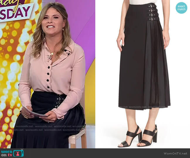 Booth Buckle Embellished Skirt by A.L.C. worn by Jenna Bush Hager  on Today