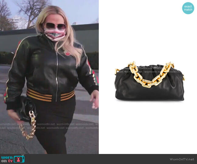 The Chain Pouch Gathered Leather Clutch by Bottega Veneta worn by Heather Gay  on The Real Housewives of Salt Lake City