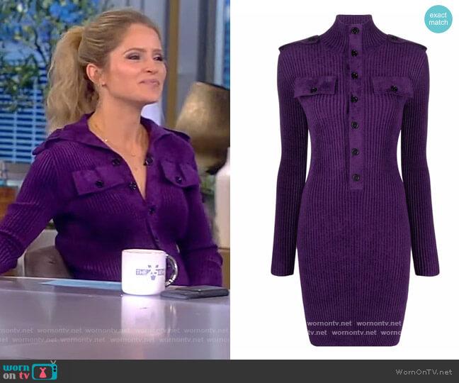 Ribbed-knit softly-textured mini dress by Bottega Veneta worn by Sara Haines  on The View