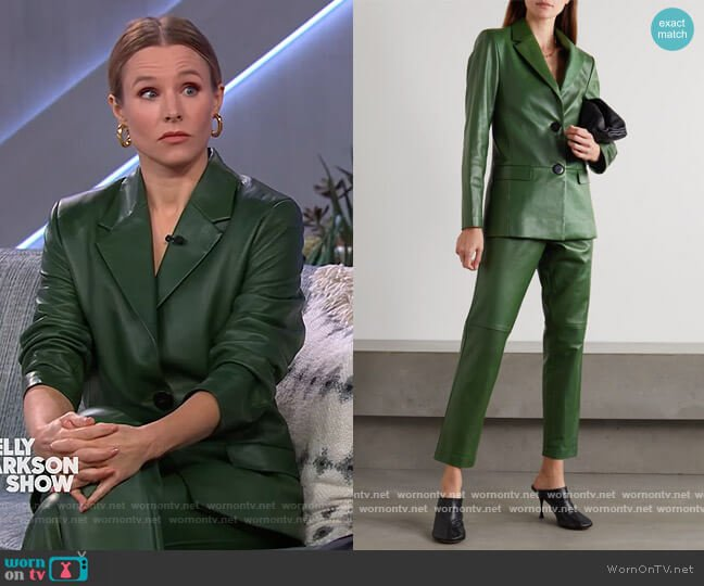 Amina leather blazer and pants by Bouguessa worn by Kristen Bell on The Kelly Clarkson Show
