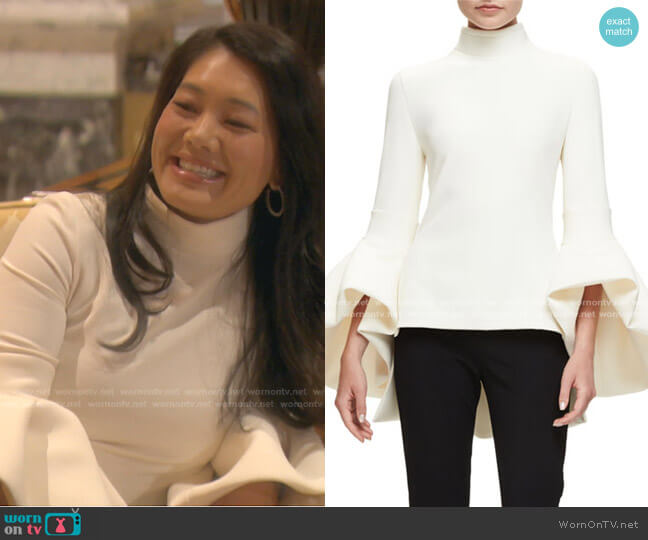 Bell-Sleeve Turtleneck Peplum-Back Top by Brandon Maxwell worn by Crystal Kung Minkoff  on The Real Housewives of Beverly Hills