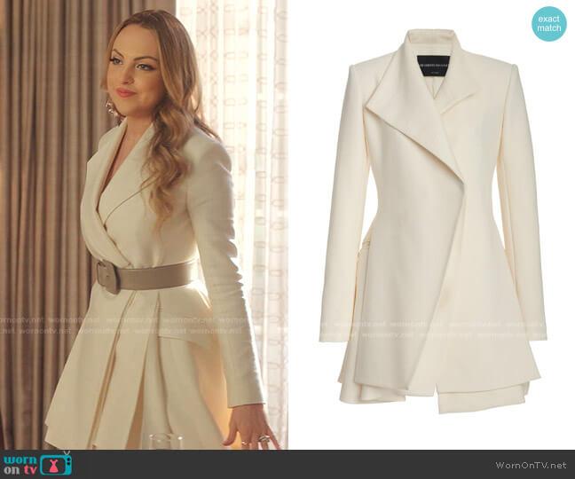 Layered Wool-Silk Mini Blazer Dress by Brandon Maxwell worn by Fallon Carrington (Elizabeth Gillies) on Dynasty
