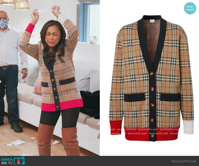 Check Wool Blend Cardigan by Burberry worn by Eboni K. Williams (Ebony K. Williams) on The Real Housewives of New York City