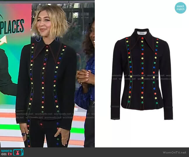 Button-Trimmed Shirt by Christopher John Rogers worn by Heidi Gardner on Today