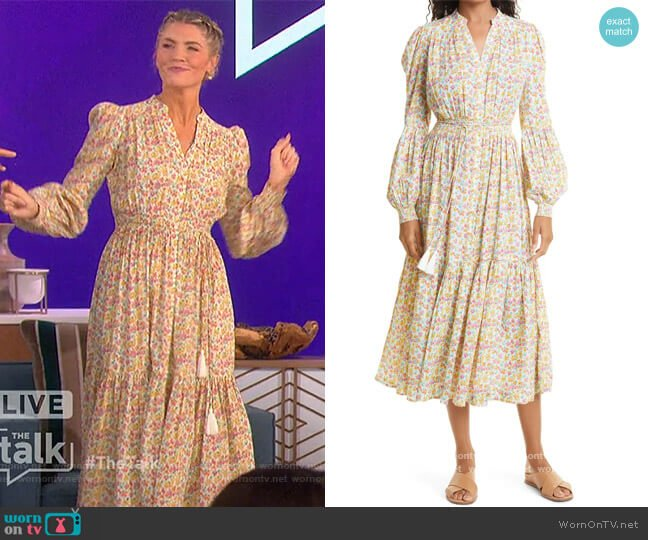 Flower Garden Long Sleeve Cotton Midi Dress by Bytimo worn by Amanda Kloots  on The Talk