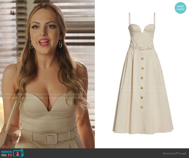 Belted Midi Dress by Carolina Herrera worn by Fallon Carrington (Elizabeth Gillies) on Dynasty