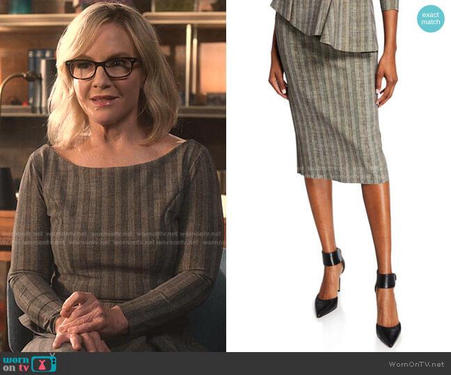 Delfina Striped Straight Skirt by Chiara Boni La Petite Robe worn by Linda Martin (Rachael Harris) on Lucifer