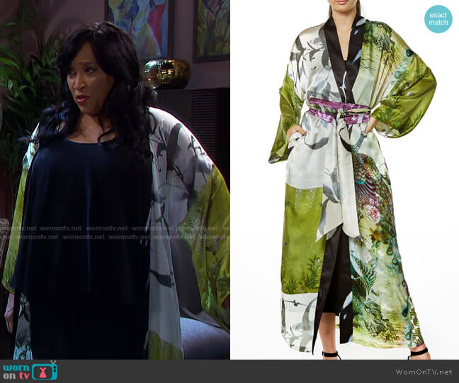 Peacock Gatsby Long Silk Robe by Christine Lingerie worn by Paulina Price (Jackée Harry) on Days of our Lives