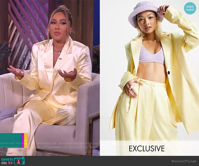 Satin Blazer with Belt and Pants in yellow by Collusion worn by Adrienne Houghton  on The Real