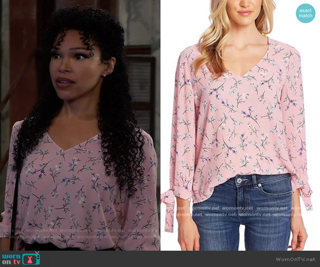 Tossed Floral Tie Cuff Blouse by CeCe worn by Portia Robinson (Brook Kerr) on General Hospital