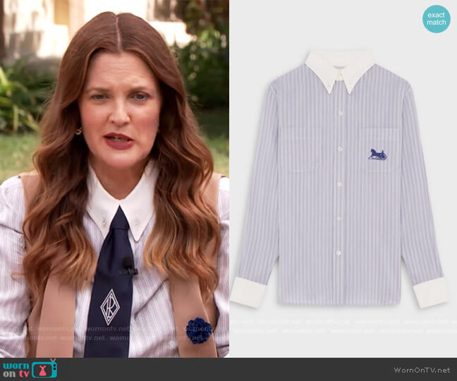 Loose Shirt Sulky Striped Blouse by Celine worn by Drew Barrymore  on The Drew Barrymore Show