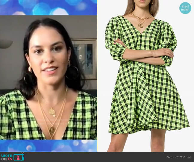 Check Puff-Sleeve Dress by Ganni worn by Donna Farizan  on Today