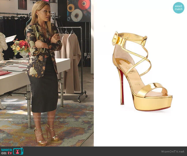 Choca Specchio Red Sole Sandals by Christian Louboutin worn by Dominique Deveraux (Michael Michele) on Dynasty