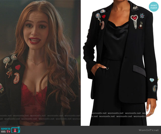 Love Cheyenne Embroidered Blazer by Cinq a Sept worn by Cheryl Blossom (Madelaine Petsch) on Riverdale