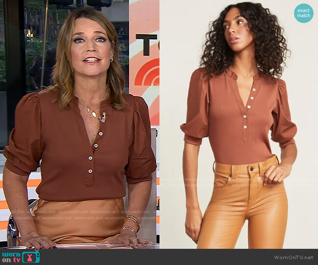 Coralee Puff-Sleeve Top by Veronica Beard worn by Savannah Guthrie  on Today