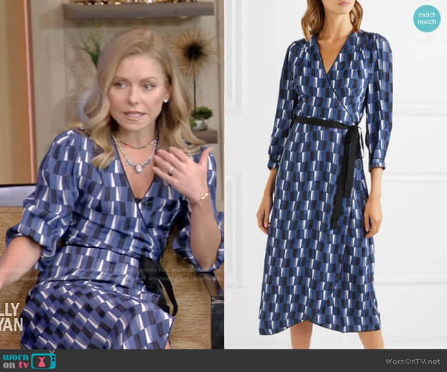 Delilah Maxi Wrap Dress by Cefinn worn by Kelly Ripa  on Live with Kelly & Ryan