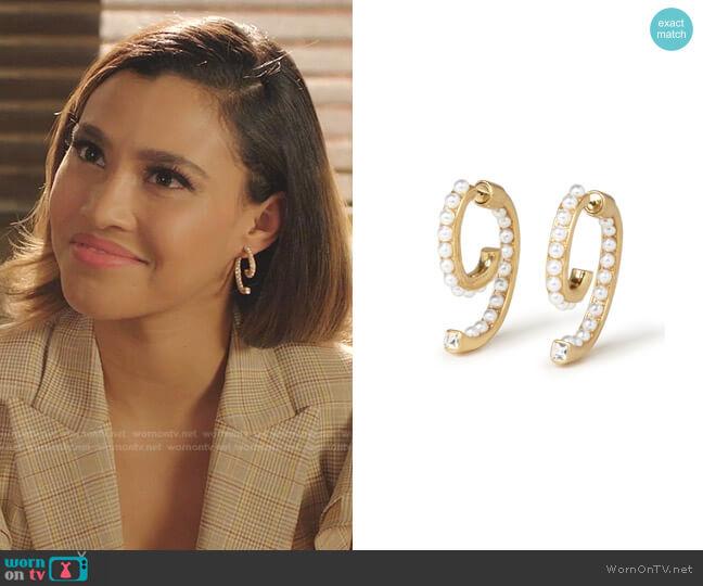 Pearl Luna Earrings by Demarson worn by Kara Royster on Dynasty