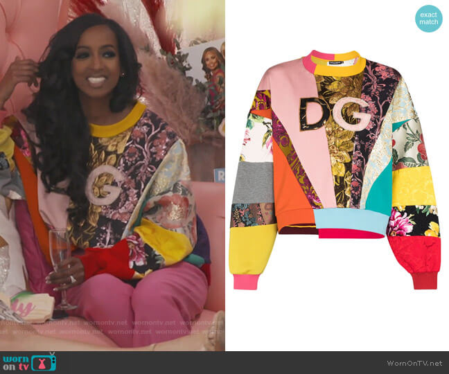 Logo Embroidered Patchwork Sweatshirt by Dolce & Gabbana worn by Askale Davis on The Real Housewives of Potomac