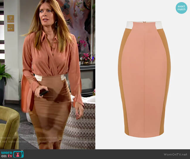Elisabetta Franchi Bi-elastic pencil skirt worn by Phyllis Summers (Michelle Stafford) on The Young & the Restless