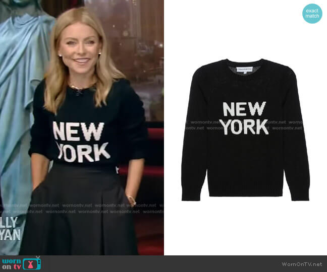 New York Sweater by Ellsworth & Ivey worn by Kelly Ripa  on Live with Kelly & Ryan