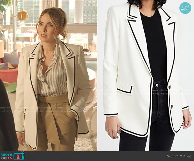 Elna Long Blazer by Alice + Olivia worn by Amanda Carrington (Eliza Bennett) on Dynasty