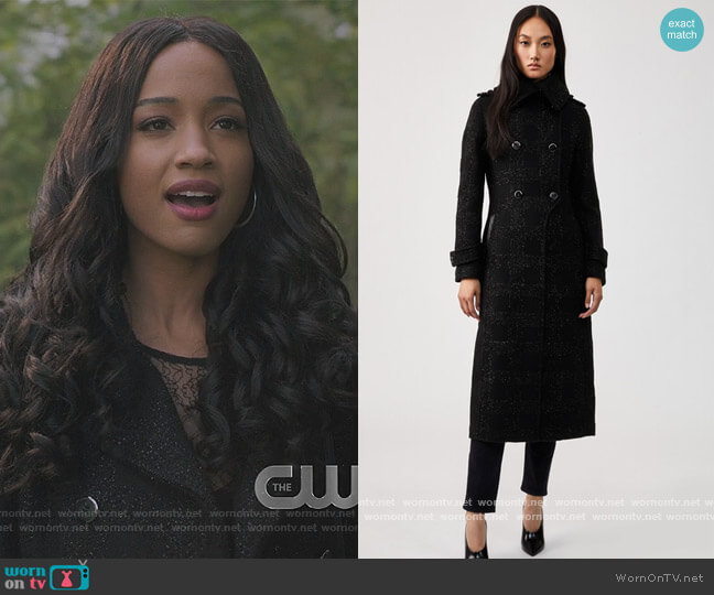 Shimmer Wool Double-Breasted Coat by Elodie worn by Erinn Westbrook on Riverdale