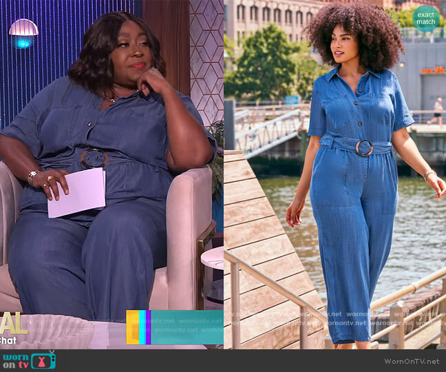 Denim Jumpsuit by Eloquii worn by Loni Love  on The Real