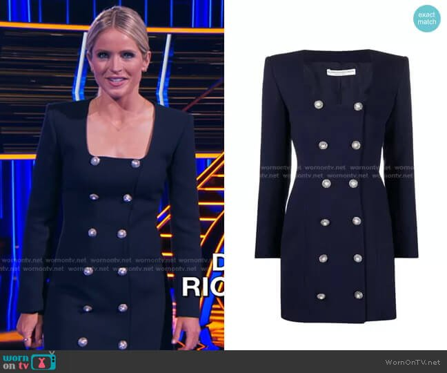 Embellished-Button Dress by Alessandra Rich worn by Sara Haines  on The Chase
